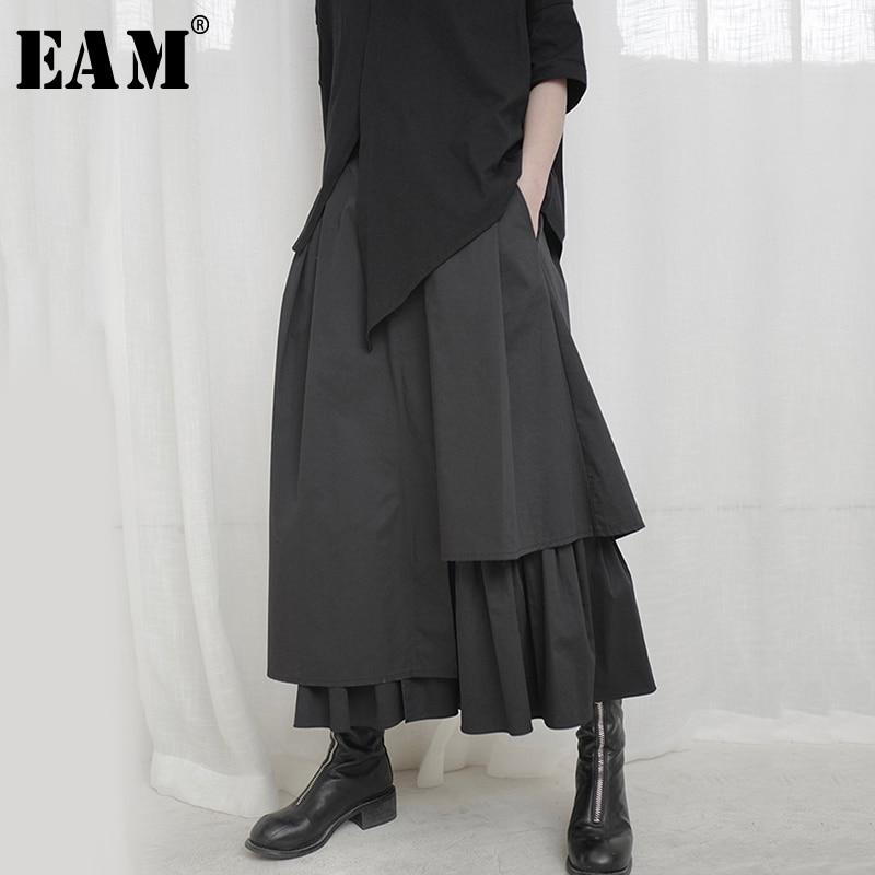 [EAM] Hohe Elastische Taille Schwarz Asymmetrische Falten Temperament Halb-körper Rock Frauen Mode Flut Neue Frühling Herbst 2021 1S664