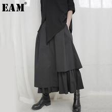 [EAM] High Elastic Waist Black Asymmetrical Pleated Temperament Half-body Skirt Women Fashion Tide New Spring Autumn 2021 1S664