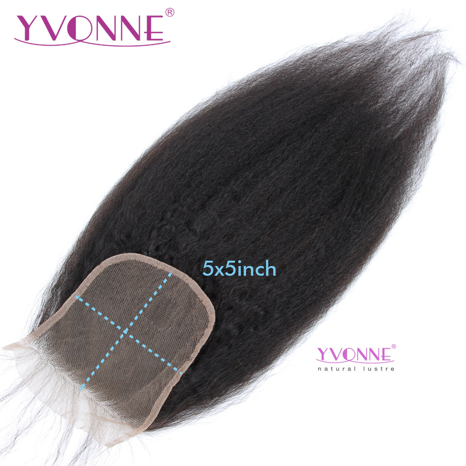 YVONNE Kinky Straight 5x5 Lace Closure 100% Human Hair Closure Brazilian Virgin Hair Free Part Natural Color