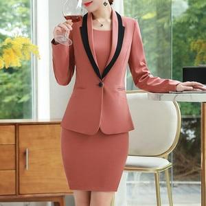 Dress Suits Office Ladies Wear Work Formal Business 2 Piece Set Plus Size Elegant Designs Long Sleeve Blazer Tops Dress Women