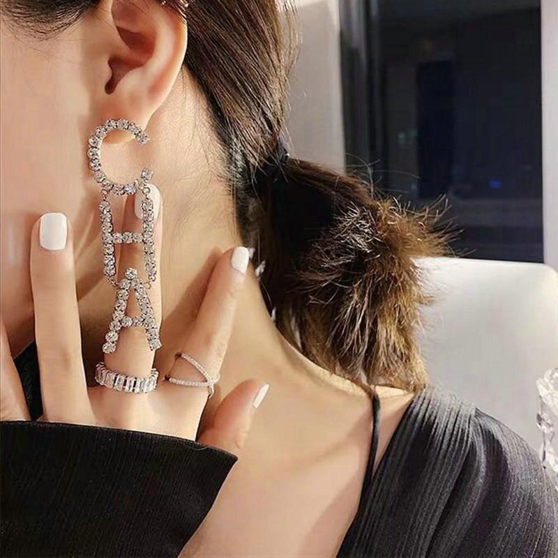 Korean Jewelry DIY Rhinestone Letter CHA Drop Dangle Earrings For Women Fashion Jewelry Trendy Statement Earrings Accessories