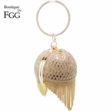 Altın elmas püskül kadın Metal kristal manşonlar akşam çanta düğün çantası gelin omuz çantası bileklik debriyaj çanta