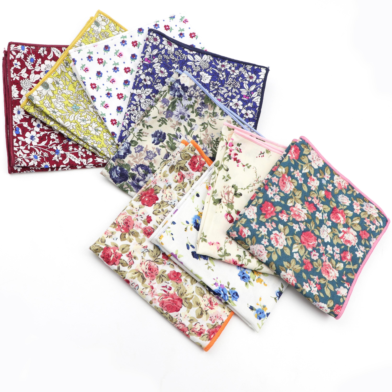 New Style  Flroal Cotton Handkerchief Scarves Vintage  Rose Flower Men's Pocket Square For Men Tie Suit Hanky