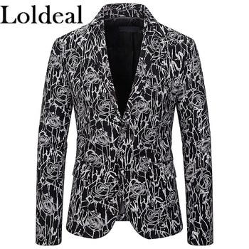 Loldeal Stylish Gold Pattern Casual Blazer Men Suit Jacket