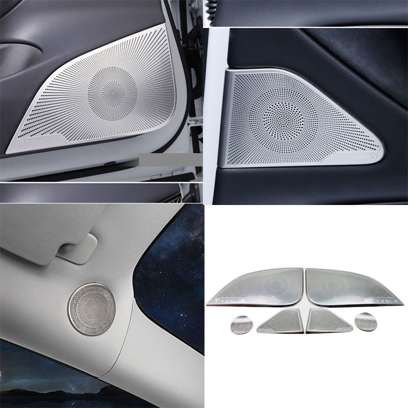 Interior Accessories Speaker Cover Sound Decorative Frame Sequins For Tesla Model 3 Car Accessories Front Column Roof Horn Hood Interior Mouldings Aliexpress