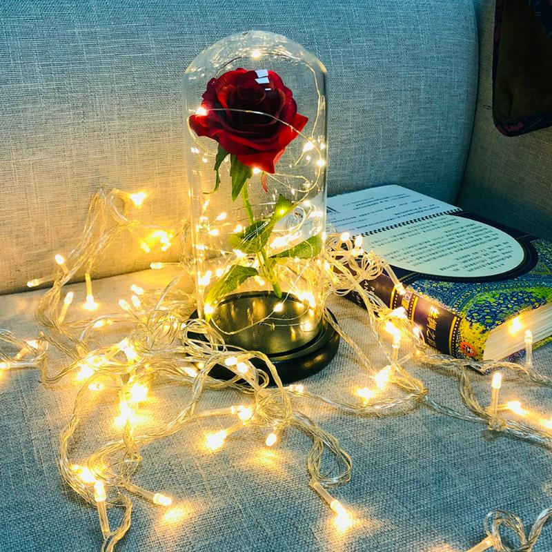 20LED Night Lamp Rose Glass Dome Copper Wire String Light Wedding Decor Artificial Flowers In Glass Cover For Valentine's Day