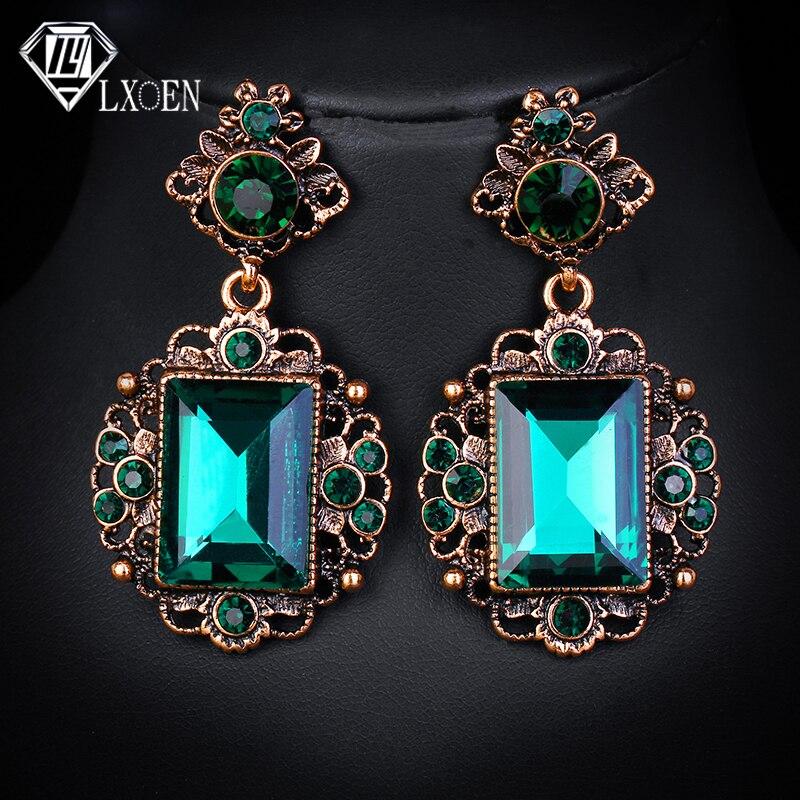 LXOEN Vintage Ethnic Green Stone Drop Earrings for Women with Square Crystal Earings Gift Oorbellen African Earrings