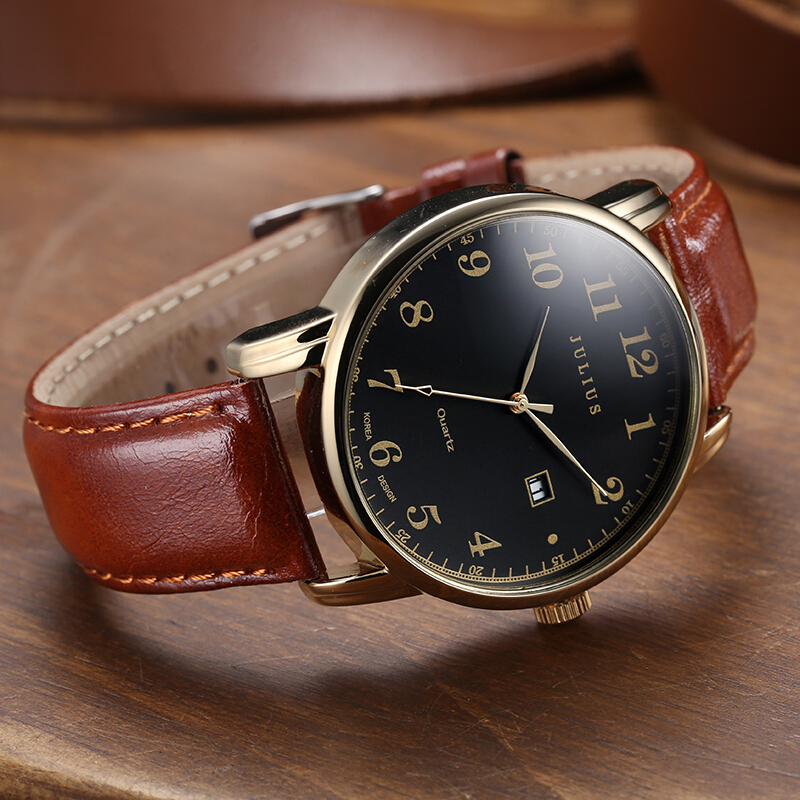 4 Colors Top Julius Man Men's Watch Japan Quartz Hours Clock Auto Date Fine Fashion Real Leather Boy's Retro Birthday Gift Box