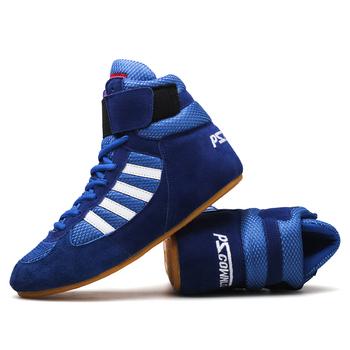 Autentyczne buty zapaśnicze dla mężczyzn buty treningowe krowa mięśni podeszwa sznurowane buty trampki profesjonalne buty bokserskie tanie i dobre opinie pscownlg Oświetlony Winter2016 Pasuje prawda na wymiar weź swój normalny rozmiar wrestling shoes for men latex Prawdziwej skóry
