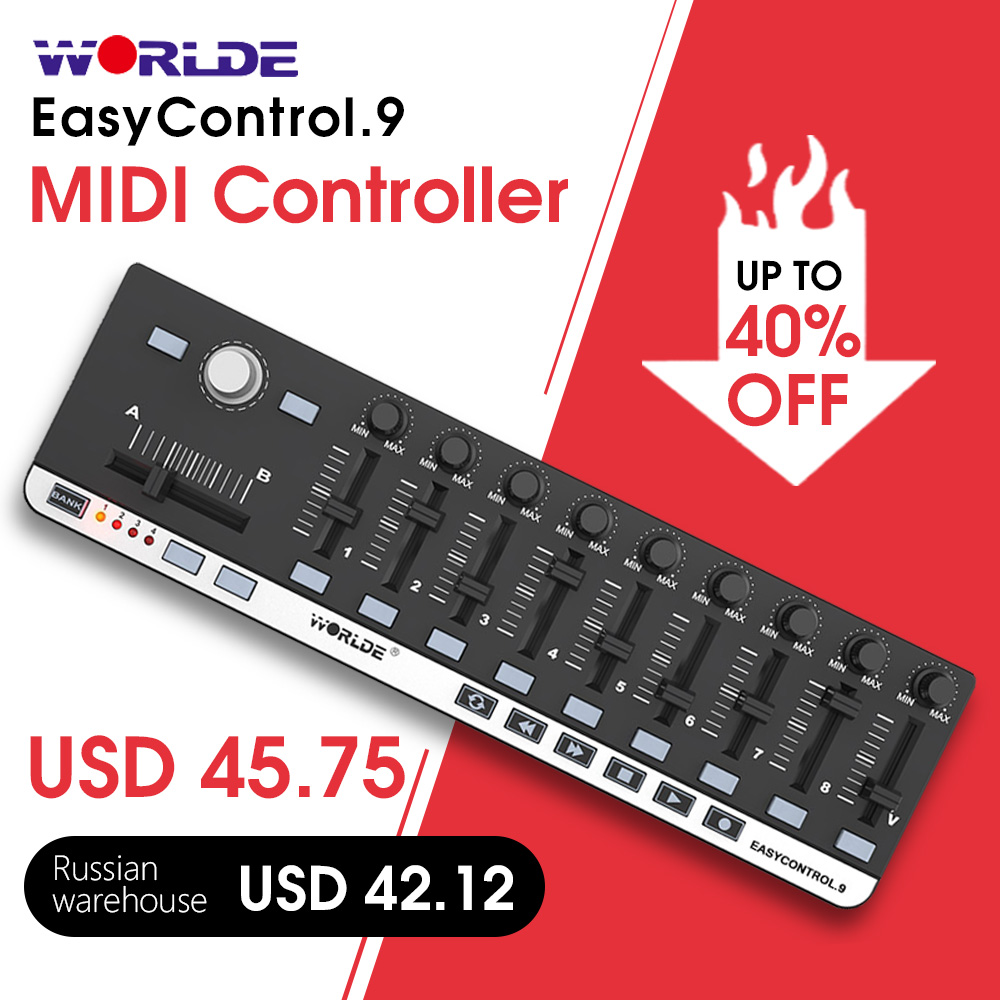 Worlde easycontrol.9 mini usb portátil 9 controlador midi de controle de linha fina