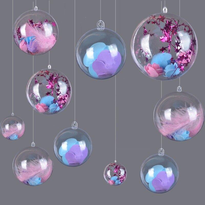 Adornos de bola de Navidad transparentes de 10 piezas adornos de plástico rellenos decoración de fiesta de boda DIY para el hogar - 3