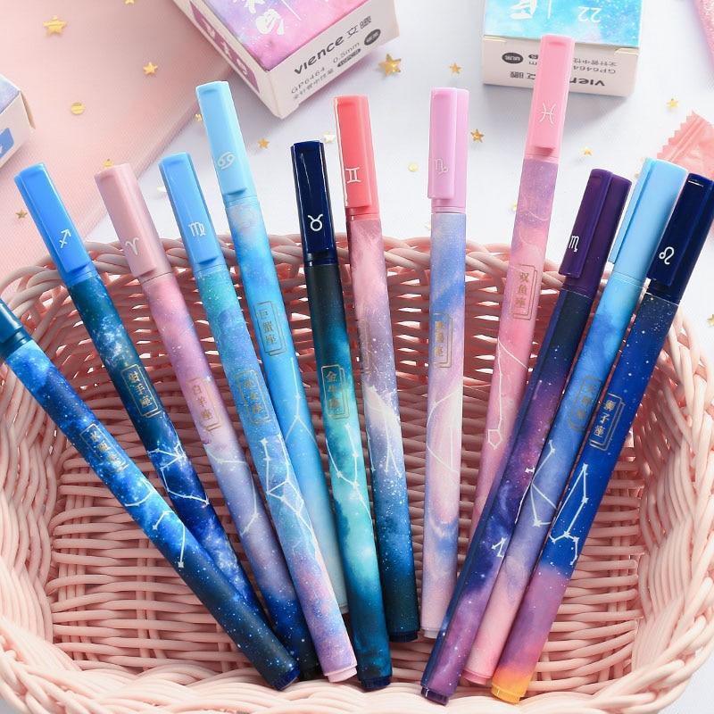 1Pc Cute Stars Pens Kawaii Constellation Gel Pens 0.5mm Black Pens For Girls Gifts School Office Supplies Korean Stationery