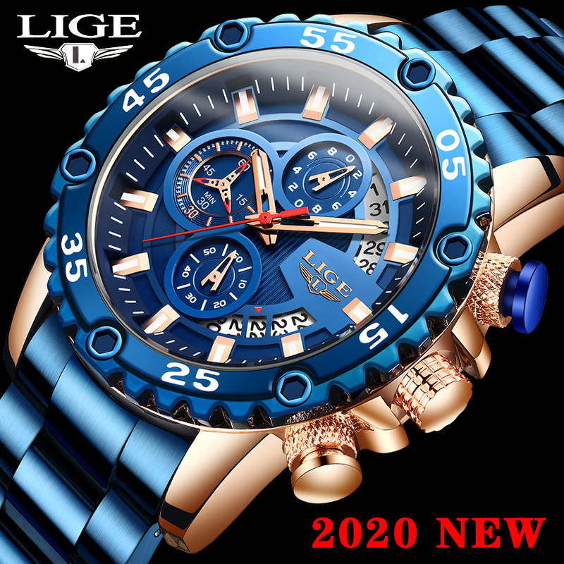 LIGE Watch Men Sports Chronograph Casual Watches 2020 Top Brand Waterproof Quartz Wrist Watches For Men Clock Relogio Masculino