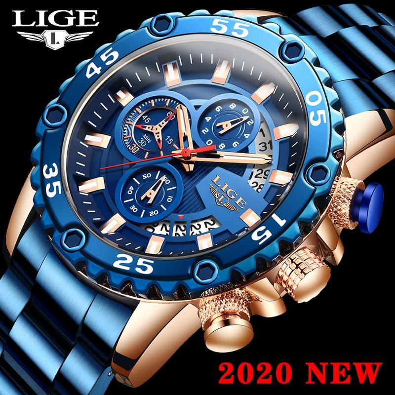 LIGE Watch Men Sports Chronograph Casual Watches 2020 Top Brand Waterproof Quartz Wrist Watches For Men Clock Relogio Masculino