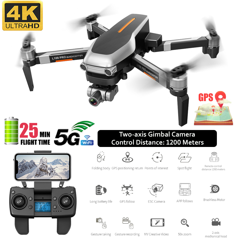 Quadcopter Gps Drone 4k profissional 5G Wifi Brushless Dron Gesture Photo FPV Mini Drone Camera Adjustable Helicoptero RC image