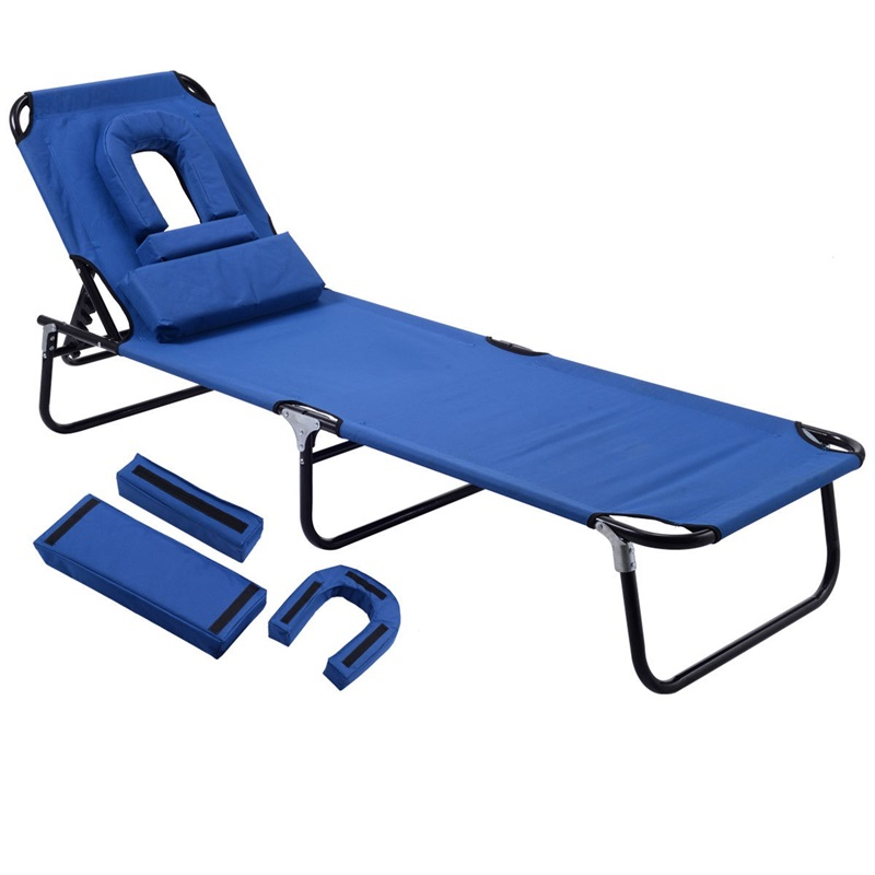 Folding Patio Recliner Lounge Chaise Steel And Oxford Fabric Removable Padded Pillow Beach Chaise Lounge Travelling OP3069