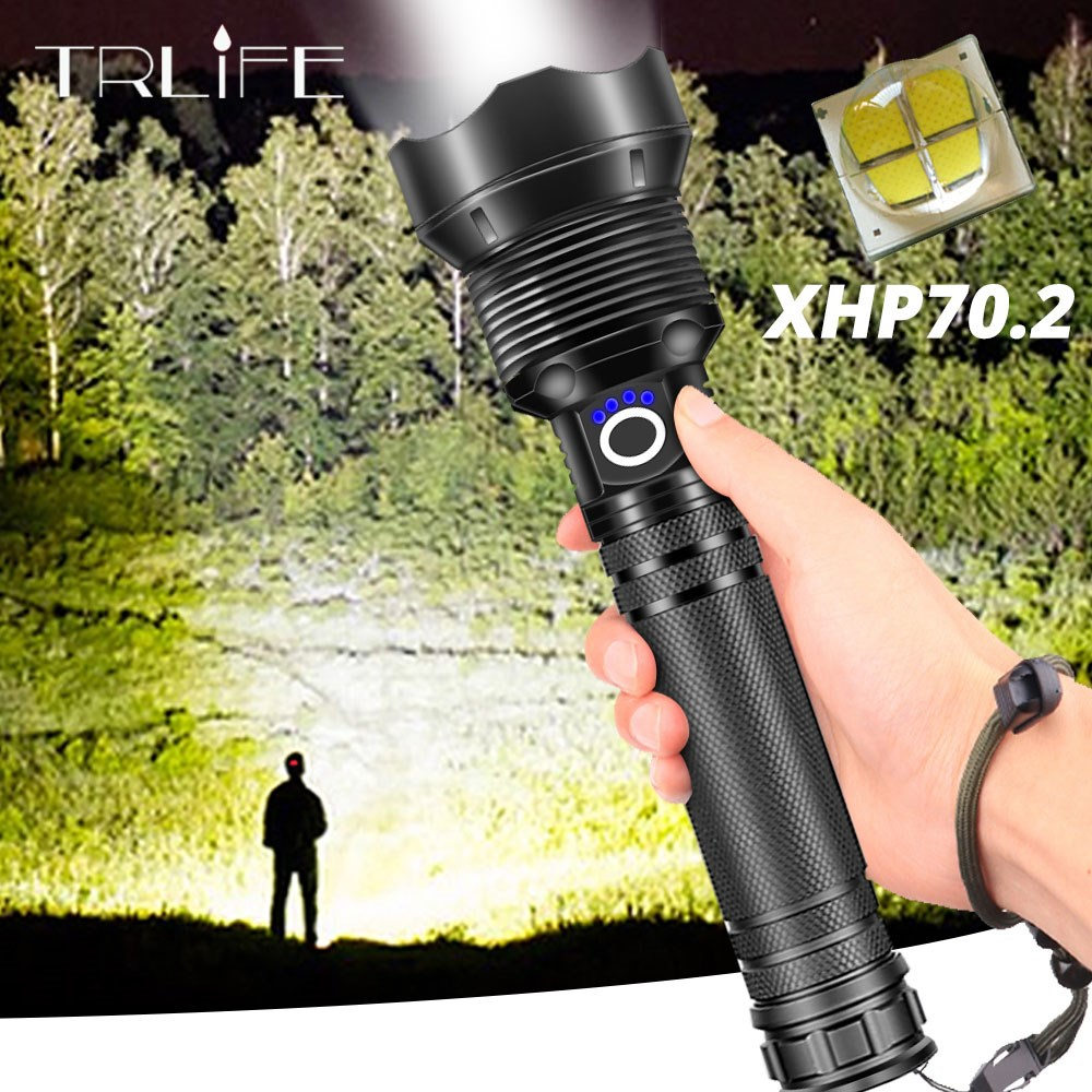 120000 Lumens Lamp XHP70.2 Most Powerful Flashlight USB Zoom Led Torch XHP70 XHP50 18650 Or 26650 Battery Best Camping, Outdoor