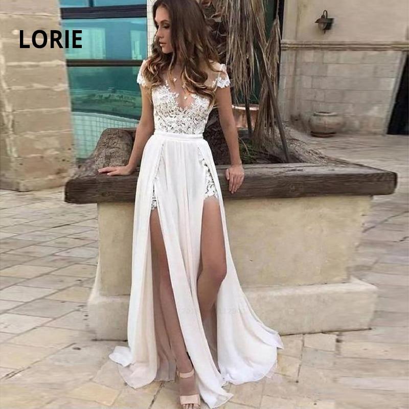 LORIE 2019 Summer Beach Wedding Dresses A Line Lace Appliques Double Split Bridal Gowns Chiffon Wedding Dress Vestidos De Novia-in Wedding Dresses from Weddings & Events    1