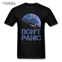 Novelty Occupy Earth SpaceX Starman T Shirt Man 100% Cotton Elon Musk Space X T-Shirt Summer Camiseta Mens Tshirt Dont Panic