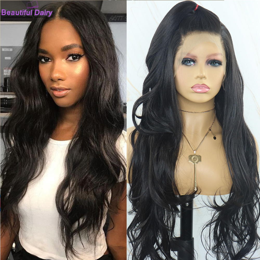 Beautiful Diary Natural Wavy Lace Front Wig 13X6 Gluesless Synthetic Lace Front Wig Heat Resistant African American Wigs
