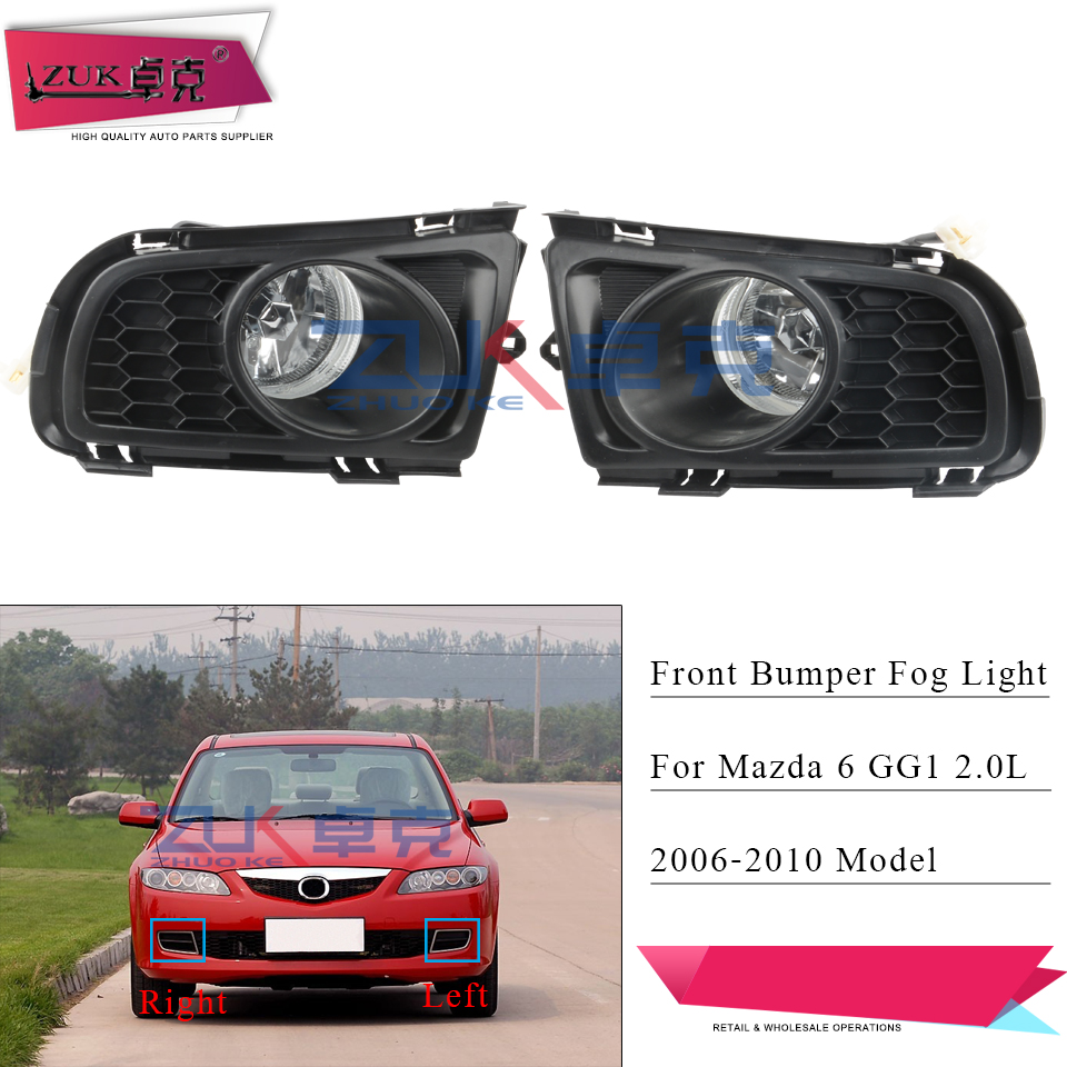 ZUK Auto Front Bumper Fog <font><b>Light</b></font> For <font><b>MAZDA</b></font> <font><b>6</b></font> Sedan GG1 2006 2007 2008 2009 2010 Fog Lamp Driving <font><b>Light</b></font> Foglight Foglamp With Bulb image