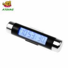 2in1 Blue Backlight Car Digital LCD Temperature Thermometer Clock Calendar Automotive Clock With Clip Car Accessories Manual