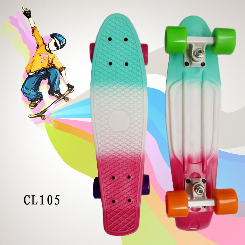 Three Warm Colors 22inch Skateboard Mini Cruiser Skateboard Plastic Longboard Banana Fishboard Good Quality Level For Adults