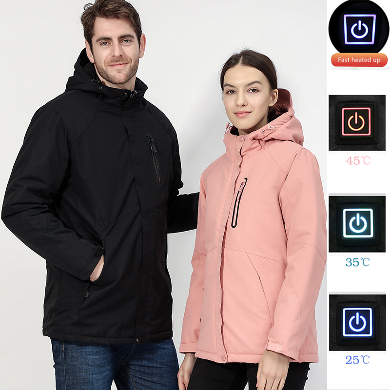 Couple USB Heated Jacket Men Women Waterproof Jacket Men Down Cotton Hiking Jacket Winter Thermal Plus Size Heated Clothing