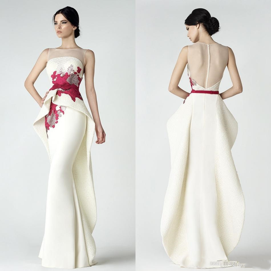 Lace Mermaid Prom Dresses With Peplum Sheer Bateau Neck Backless Evening Gowns Appliqued Vestidos De Fiesta Floor Length Formal
