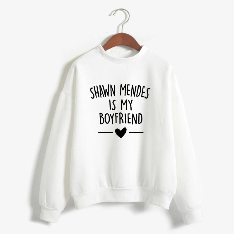 Autumn Winter Sweatshirt Shawn Mendes Is My Boyfriends Letter Printed Casual Sweatshirt Shawn Mendes Hoodies Women Harajuku Top