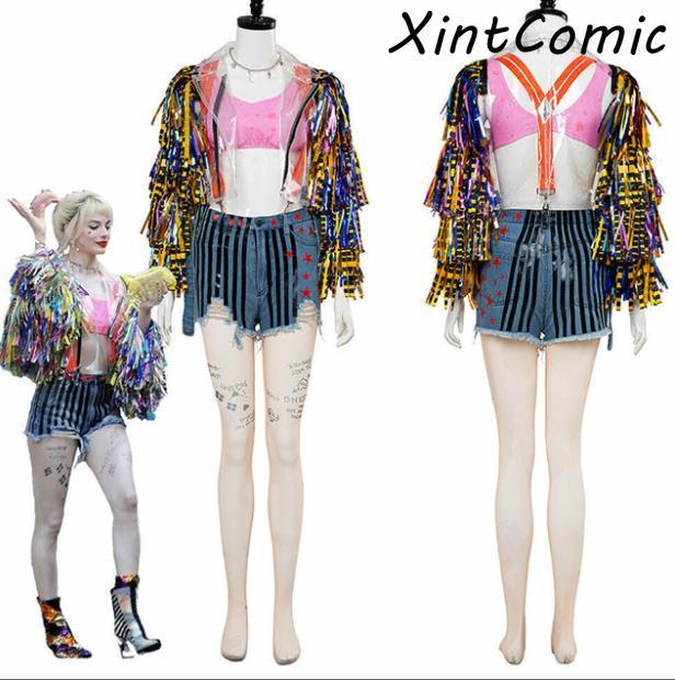 Nowe ptaki drapieżne i fantabous emancypacja jednego Harley Quinn kostium płaszcz cosplay kurtka rekwizyty dorosłych zestawy dla kobiet