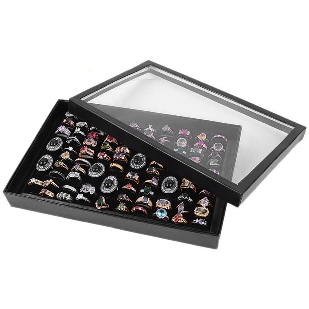 100 Grids Ring Display Box Jewelry Tray Case Portable Jewelry Ring Carrying Tray Holder Cufflink Storage Box Organizer