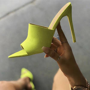 Sandals Woman Slippers Orange High-Heels Pointed-Toe Green Nude 12cm Candy