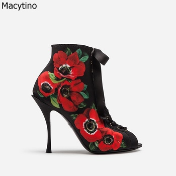 High heel ankle boots 3D flower prited women shoes 2020 woman embroidered boots botines mujer botte femme bottine