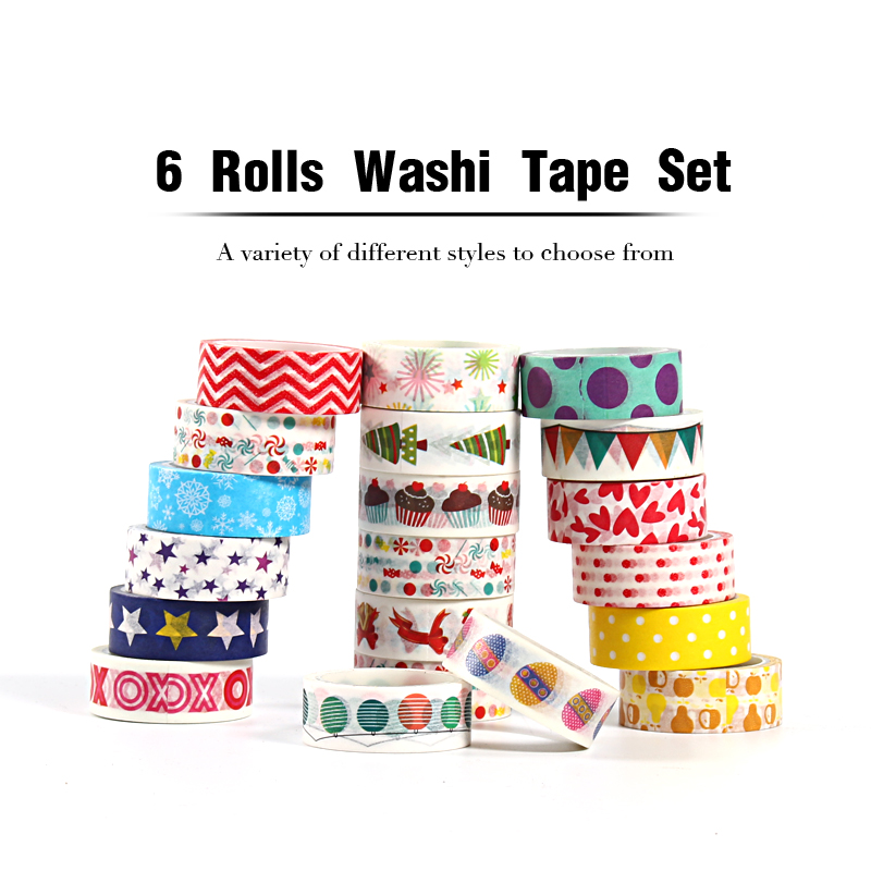 6 Rolls Christmas Kawaii Washi Tape Set  Masking Stationery Stickers Scrapbooking DIY Decorative Cute School Whasi Vintage Paper