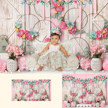 Sweet Newborn Portrait Backdrop Girl Birthday Photography Background Props Artistic Photocall Pink Flowers Wood Photo Shoot pastel pink color princess baby girl photo shoot background printed flowers newborn photography props kids portrait backdrops
