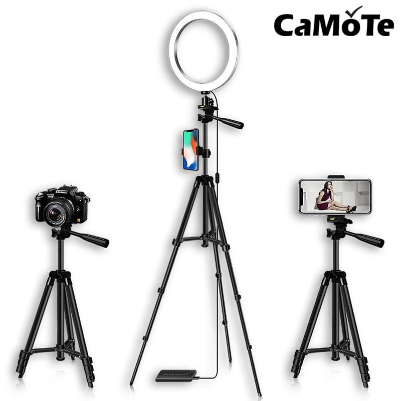 Dimmable USB LED Studio Camera Ring Light Lamp Photo Phones Bracket With Tripod Stand Adjust Brightness Photography Selfie Light