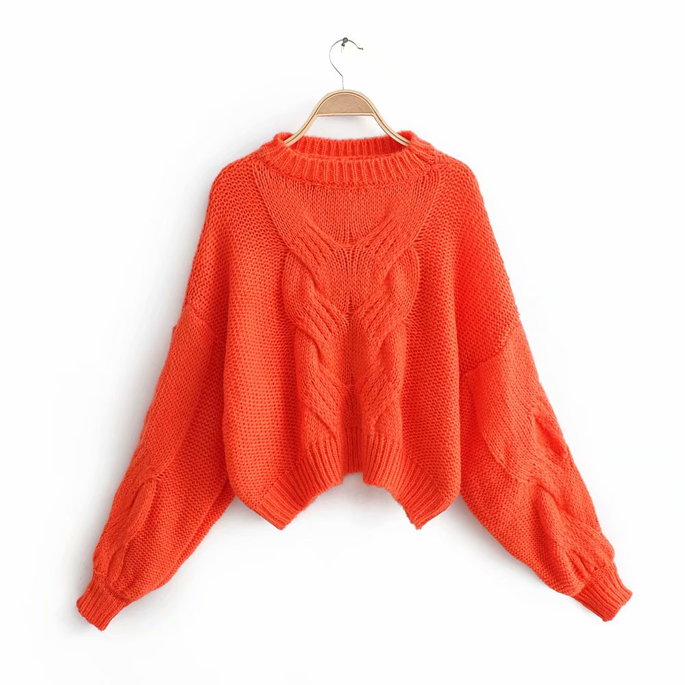 New Autumn Winter Women Elegant Candy Color Twist Pullover Sweater Ladies Lantern Sleeve Knitted Casual Loose Sweaters Tops S125