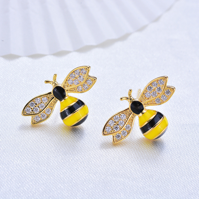 (168) 2PCS 12x18MM 24K Gold Color Brass with Zircon Oil Bee Stud Earrings High Quality Diy Jewelry Findings Accessories
