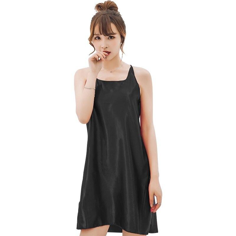 Sexy Women Silk Casual Sleepwear Mini Nightgown Summer Sleep Dress Home Plus Size Seamless Lingerie NightDress