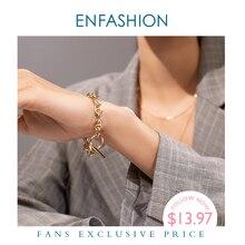 ENFASHION Bracelet géométrique ajouré pour Femme, couleur or, Punk, en acier inoxydable Bracelets pour Femme, mode, bijoux pour amis, cadeau, B2046