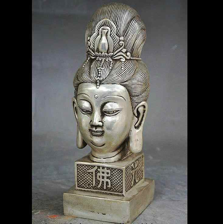 Zhmui88002840996 + + 9 Cina Buddhisme Perak Kwan-Yin Patung Kepala Seal Stamp Signet Patung