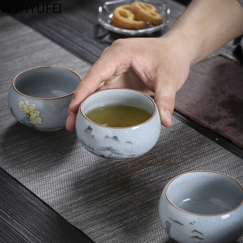 High Capacity Chinese Tea Set Tea Set Teacup Crack Ceramic Tea Cup  Puer Oolong Tea Customized Gifts Household Drinking Utensils