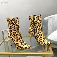 High quality sexy woman autumn winter 10cm heels Horse hair short boots luxury Designer socks boots size 35 41