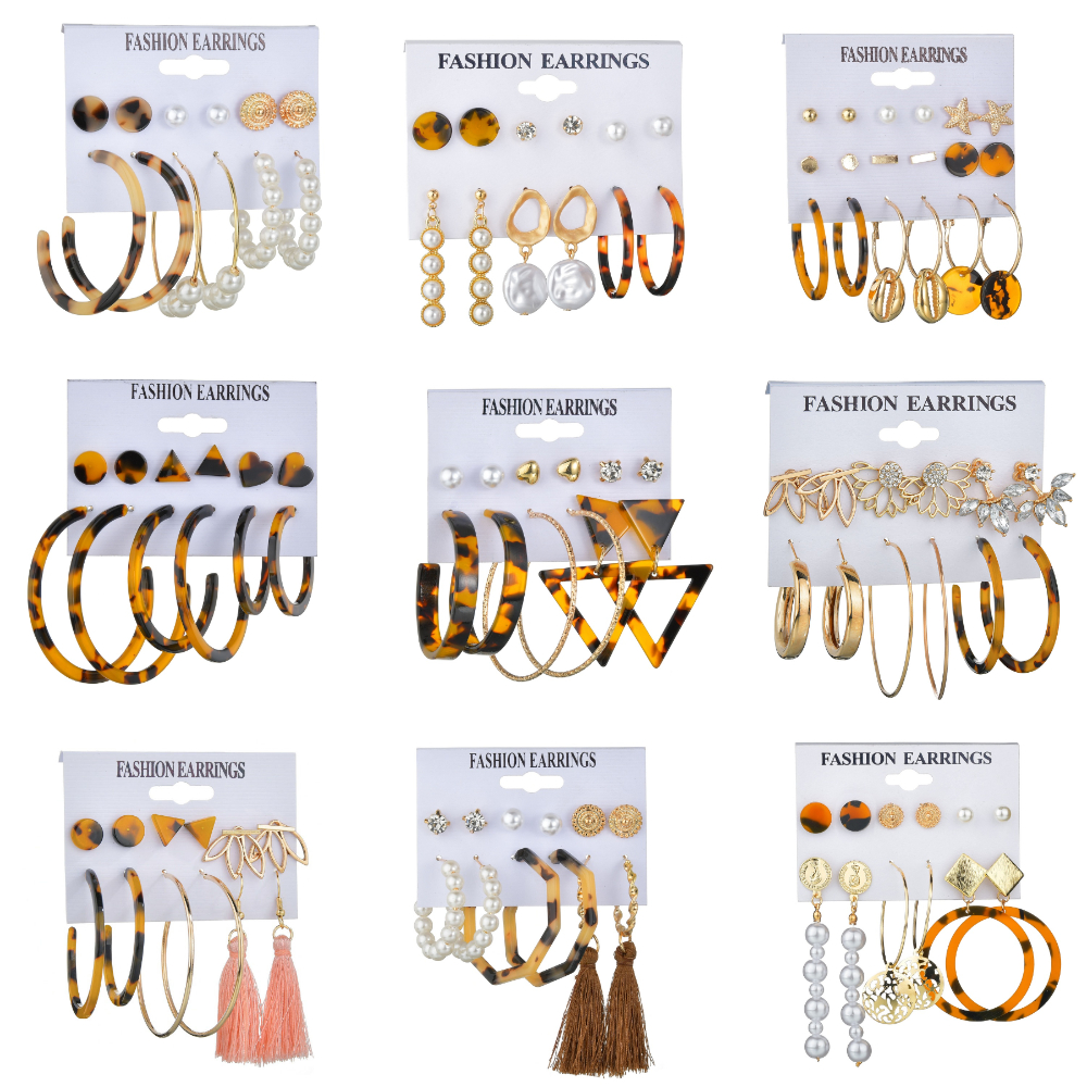 MissCyCy Vintage Leopard Acrylic Pearl Stud Earrings Set For Women BOHO Long Tassel Stud Earring Fashion Jewelry Gift Set image