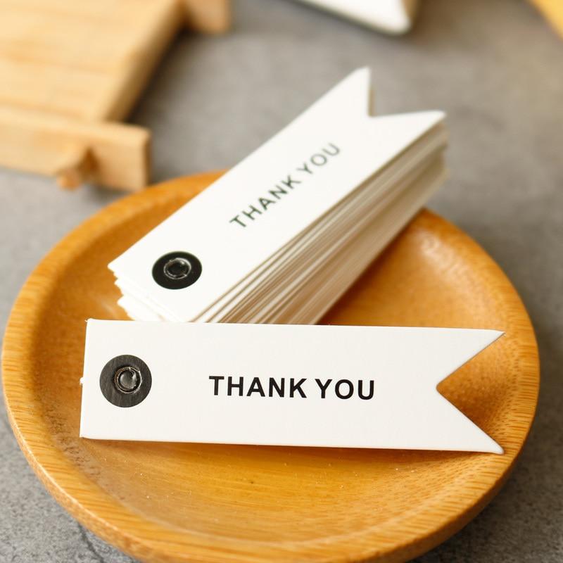 100 шт. белые бумажные бирки, спасибо, Подарочные бирки ручной работы, этикетки, Подарочная коробка, сумки, упаковка, украшения для самодельно...