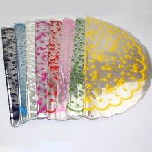 Material de papel de embrulho do presente do papel plástico transparente redondo dos corações claros do papel de envolvimento da flor da maçã 70 pces