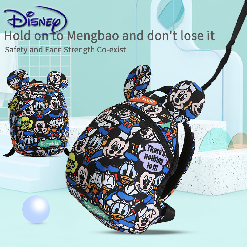 Disney Cartoon Mickey Baby Backpack Toddler Anti Lost Backpack Baby Cartoon Pattern Children Schoolbag Kids Walking Leashes Bag