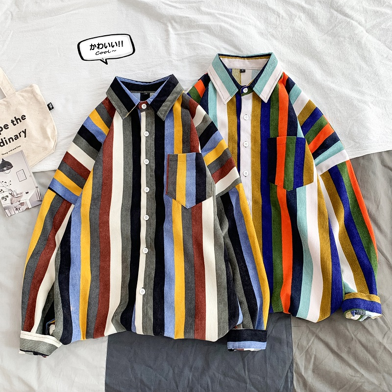 Privathinker Japanese Colorful Striped Men Shirt New Spring Man Basic Long Sleeve Blouse 2020 Korean Male Casual Shirts