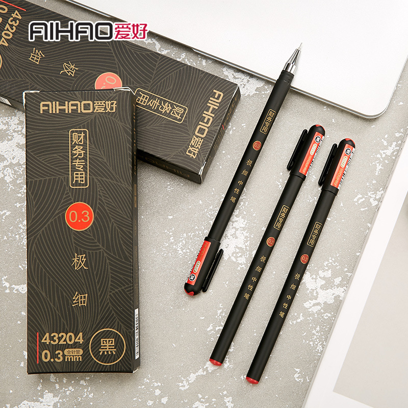 0.3mm Black Finance Gel Pens Kawaii Chinese Elegant Gel Pen For Writing Office School Supplies Aihao Stationery